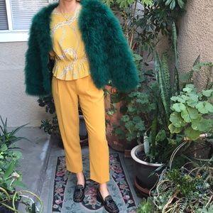 Jackets & Coats - Emerald green real Ostrich fur jacket